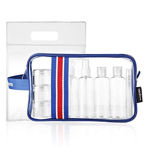 Mococito borsa da toilette viaggio trasparente con 8 bottiglie approvata secondo le regolamentazioni ue e uk sul bagaglio a mano | borsetta da trucco trasparente con zip (20x20cm)[blu]