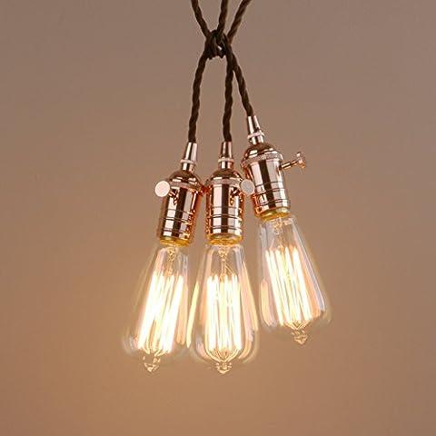 Pathson Three Heads Lamp Holder Light Fitting Industrial Metal Hanging Pendant Light Fixture