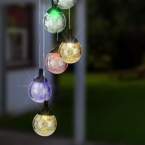 Kamaca LED Solar Windspiel mit 6 Kugeln in Crackle Glass Optik und tollem Farbwechsel mit Solarpanel und Akku Dämmerungssensor (LED Windspiel mit 6 farbwechselnden LED)