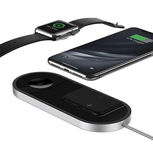 TATE GUARD 2-in-1 Kabellose Aufladestation für i'Watch & i'Phone QI-Zertifiziert Kabellos Handy LadenPad Galaxy S9 Plus/8 Plus X Uhr Series 4 3 2 1 Nike+ Edition 42 38mm Schwarz