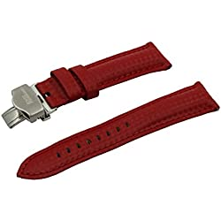 Carbon Fiber Grain Padded Italian Calfskin Leather Watch Band With Brushed Stainless Steel Butterfly Deployment Buckle and Quick Release Spring Bars