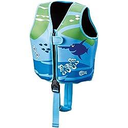 BECO 9639 Sealife Auftrieshilfe und Schwimmhilfe verstellbar mit 3 Auftriebskörper Schwimmlernweste, Mehrfarbig (blau/grün), M