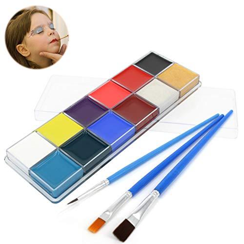 Schmink-Kit für Kinder und Erwachsene, professionelles Make-Up-Set für Gesicht- und Körpermalerei mit 12 Farben für kräftige Farben und 3 Pinsel für Halloween, Ostern, Themenpartys, Kostümball