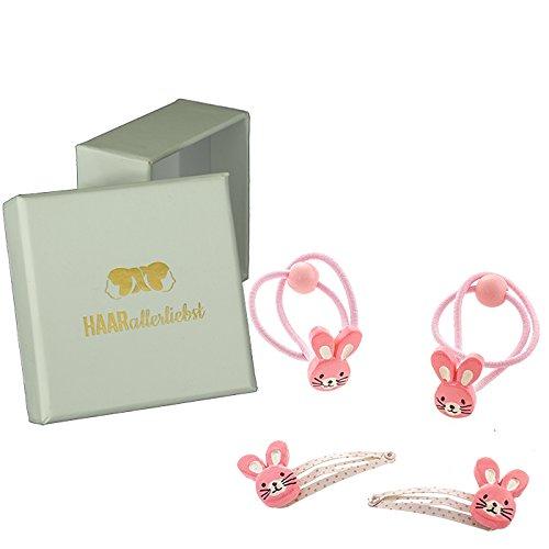 HAARallerliebst 4 Teiliges Haarspangen Haarclip und Haargummi Set mit handbemalten rosa Hasen für...