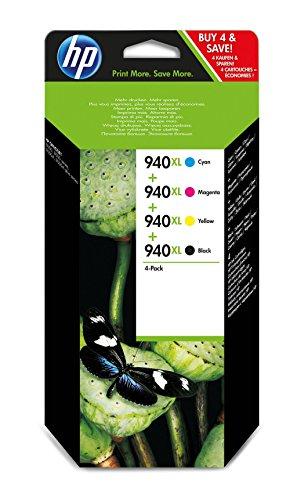 HP 940XL Pack de 4 Cartouches d'Encre Noir/Cyan/Magenta/Jaune Grande Capacité Authentiques - C2N93AE