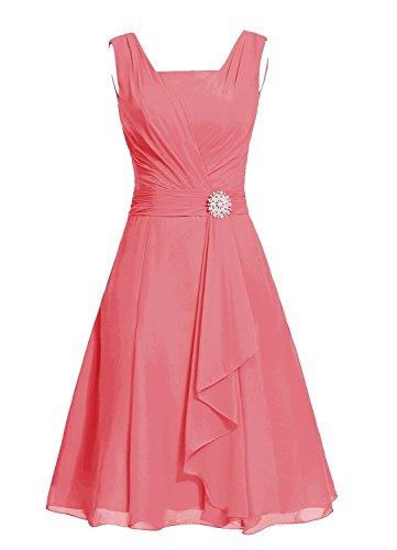 Fanciest Damen Straps Beaded Kurz Brautjungferkleider Purple Wedding Party Dress Coral