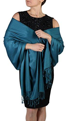 Pashmina Schal Tuch für Frauen - Quastenveredelung - Kostenloser Aufhänger (Über 20 Farben) Handgefertigt (pfau)