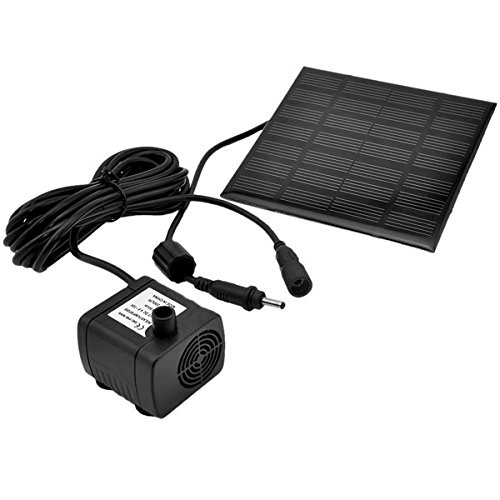 UKCOCO 1.2W 7V 180L/H Solar Power Wasserpumpe Garten Brunnen Tauchpumpe mit Saugnäpfen (Schwarz)