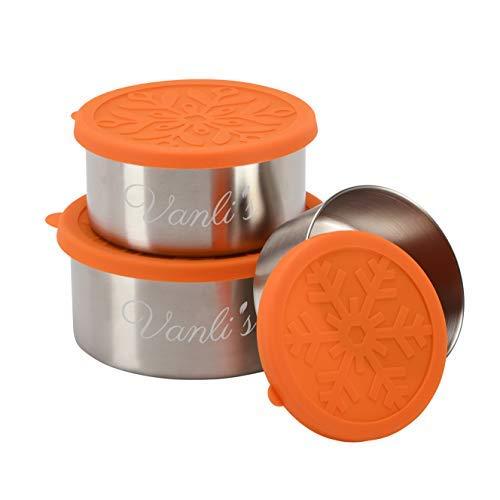 Vanli's Recipientes Redondos Reutilizables para Alimentos | Tapas Herméticas Ecológicas | Fiambreras de Acero Inoxidable para Almacenamiento Seguro de la Comida- sin BPA | Set de 3, Capacidad Total 2L
