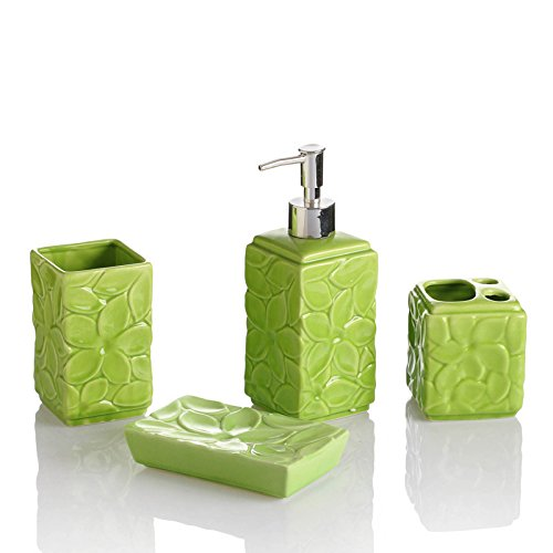 HJKY Badzubehör Set Regenbogen Keramik reine Farbe Bad Wasch-Set fünf Sätze von Hochzeit rot Badezimmer setzt Bad-Sets, Obst grün 4 Sets (Shell Bad Setzt)