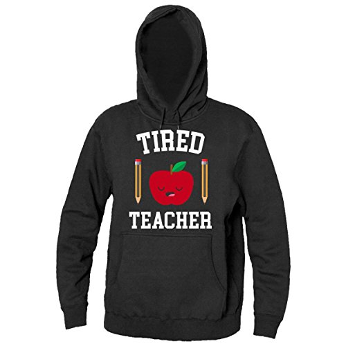 Finest Prints Tired Teacher Sleepy Apple With Pencils Men's Hooded Sweatshirt