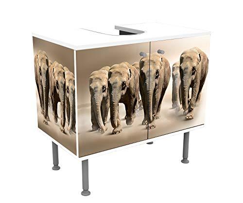 wandmotiv24 Mueble de baño Grupo de Elefantes africanos Frente y Lados pegando...