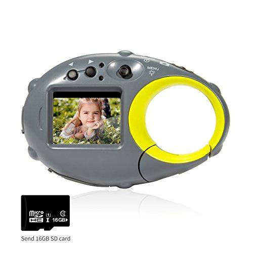 FLAGPOWER Kinderkamera ab 3 Jahre, Digitalkamera Camcorder Kamera für Kinder 12MP HD Fotos mit 16GB MicroSD-Speicherkarte und Ladekabel (Blitzlicht Funktion)