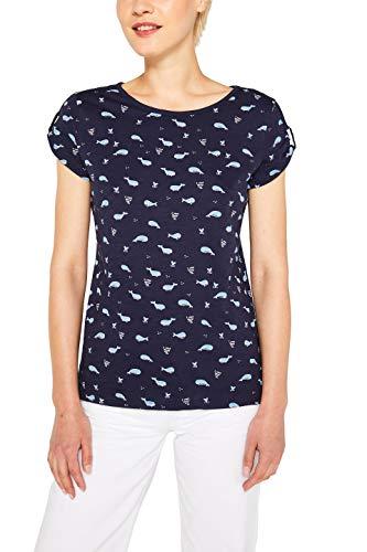 edc by ESPRIT Damen 079Cc1K018 T-Shirt, Blau (Navy 400), Small (Herstellergröße: S)