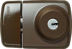 ABUS Tür-Zusatzschloss 7525 mit beidseitigem Zylinder für Türen mit schmalen Rahmenprofilen, braun, 58920