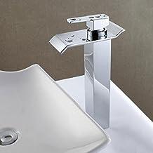 Rame, rubinetto del bacino, rubinetto cascata, acqua cascata di grandi dimensioni, unico gestire singolo