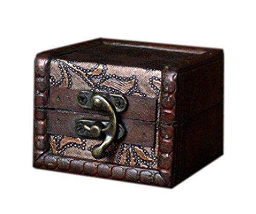 agréable et nostalgique carré caisson à bijoux en bois de cas cosmétique