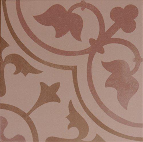 Creme Bodenfliese (Zementoptik Bodenfliesen Dekor creme rosa mix glas. 22,3x22,3x1,0cm 1 Krt=1,0qm)