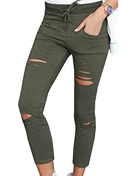 BLACKMYTH Mujer Ajustados Color Puro Pantalones Lápiz Hueco Cintura Alta Elasticos Leggings Con Bolsillo
