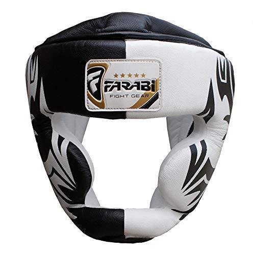 Farabi Casco da Boxe Kick Boxing Head Protection Rex in Pelle Color Rosso /& Bianco M