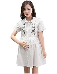 10152173c5ad10 Weirk Shop Damen Kleid Lang mit 3/4 Ärmel Damen und Schwangere Maxikleid  mit Bindegürtel