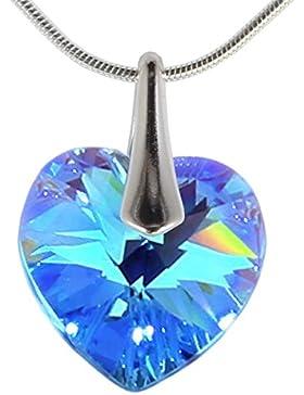 Herz Silber Anhänger mit Kristallen Swarovski m3crystal edle Kettenanhänger 14 mm Blaue Herz 45 cm Nickelfrei...
