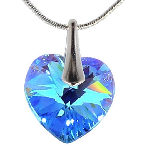 Ciondolo con cristalli swarovski in comprovata qualità di m3crystal a forma di cuore 14mm, catena 45 cm in argento sterling 925 collana regalo per donne gioielli di moda (aquamarine ab)