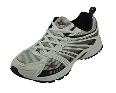 Calcetto Men's White Mesh Sports Shoes-CLT-9910 White Red