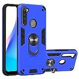 WJMWF Hoesje voor Xiaomi Redmi Note 8T [Screen Protector] 360°Draaibare ringhouder 2 in 1 Vecht tegen pantser Telefoonhoes Magnetische autohouder Siliconen Beschermhoes-Marineblauw