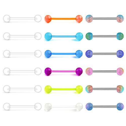 LAURITAMI 18pcs Juego Barras de Piercing Lengua Barbell Recto 16mm 1.6 mm Anillos de Pezón Bolas Retenedor Transparente Bioflex Flexible Brillo en la Oscuridad Pendienets