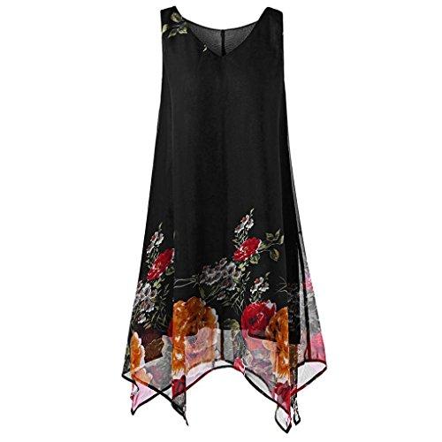 VEMOW Heißer Sommer Elegante Damen Frauen Plus Size Blumendruck Chiffon Sleeveless Unregelmäßige Beiläufige Tägliche Party Strand Urlaub Hem Minikleid(Schwarz, EU-54/CN-5XL) (Plus Size Jeans-corsagen)