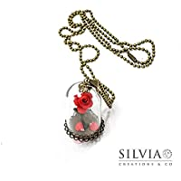 Collana Rosa rossa sotto campana di vetro