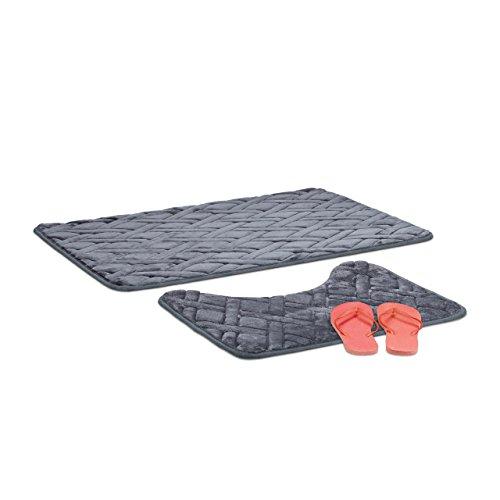 Relaxdays 2-Teiliges Badematten Set, Badematte Anthrazit, WC Vorleger Grau, Badvorleger 50x70, mit Muster, Grey