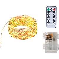 Funciona con pilas A prueba de agua 8 modos 100 luces de cadena de hadas LED con control remoto, 10 metros de largo luces de alambre de cobre para la fiesta del dormitorio Boda Navidad Decoración al aire libre (blanco cálido)
