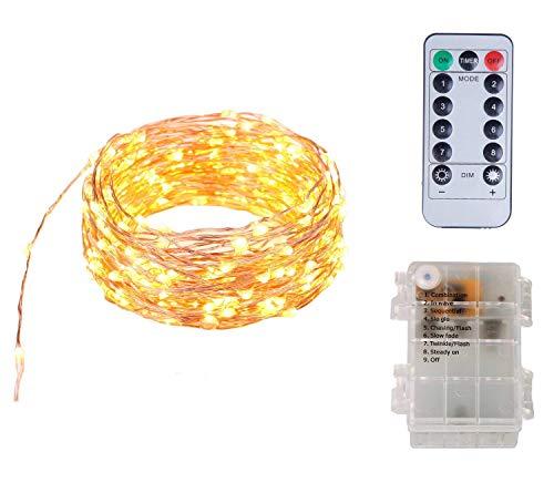 Funciona con pilas A prueba de agua 8 modos 100 luces de cadena de hadas LED con control remoto, 10 metros de largo luces de alambre de cobre para la fiesta del dormitorio (blanco cálido)