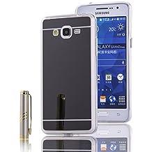 Funda Samsung Galaxy Grand Prime, LXHGrowH [Ultra Delgada] Carcasa con espejo para Samsung Galaxy Grand Prime Cover silicona tpu protectora Negro - LXHGrowH Cubierta