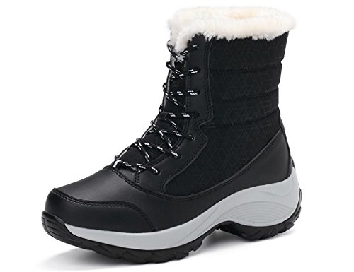 IIIIX GNEDIAE Damen Wasserdicht Stiefeletten Plüsch Warm Gefütterte Winterstiefel Plateau Freizeitschuhe Schneestiefel Gepolsterten Schuhe Boots Winter Schuhe