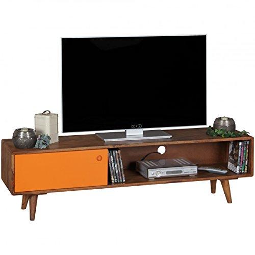 TV Lowboard REPA Sheesham Massivholz mit 1 Tür 140 x 40 x 35 cm | TV Hifi Regal im Retro-Design | Fernsehschrank TV-Board in dunkelbraun / orange