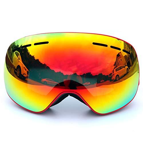 YXZN Magnet Ski Goggles Double Anti Nebel Große Kugelförmige Outdoor-Sportgeräte Erwachsene Männer Und Frauen,Red,18X9.5CM