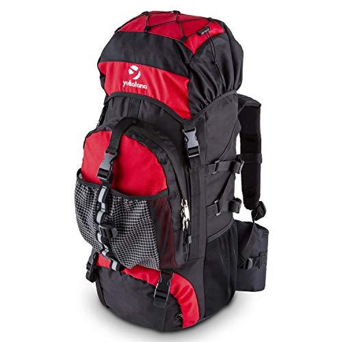 Yukatana thurwieser • zaino • borsa da viaggio • zaino da trekking • materiale nylon impermeabile • schienale ergonomico imbottito • 2 ampi scomparti con cerniera • cinghie regolabili • volume 55 l • parapioggia • rosso
