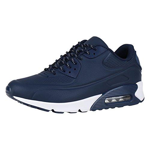 Herren Sportschuhe Lederoptik Sneakers Runners Laufschuhe Schuhe Dunkelblau Navy 43