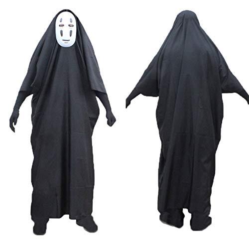Kostüm Schwarze Bilder Witwe - JYPCBHB Halloween Kostüm Umhang Für Cosplay Vampir Kostüm mit Anime Faceless Male Costume with Mask+Clothes+GlovesBlack mask-S