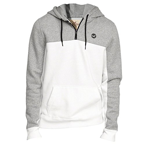 hollister-homme-half-zip-icon-hoodie-sweat-a-capuche-sweatshirt-longue-taille-xl-blanc-627239744