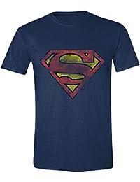 Superman - Heavy Destressing Logo Hombres Camiseta - Azul