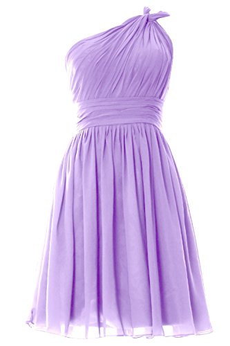 MACloth Women One Shoulder Pleated Short Bridesmaid Dress Wedding Party Gown Lavendel