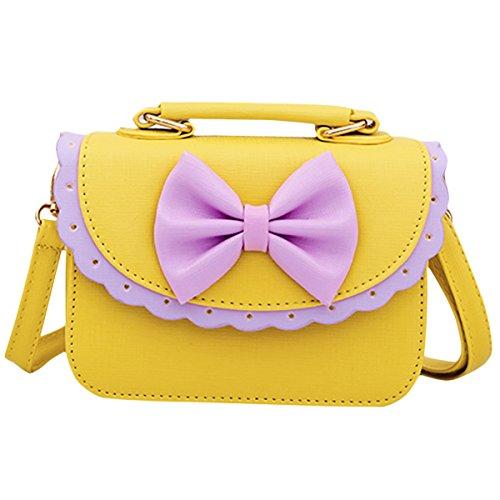 Happy Cherry Handtasche, Schultertasche, für Kinder, Mädchen, aus PU-Leder, mit Schleife, für 3-12Jahre geeignet - Handtasche Kind