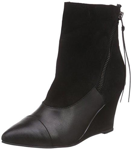 Black Lily Mila Wedges Damen Kurzschaft Stiefel Schwarz (Black)