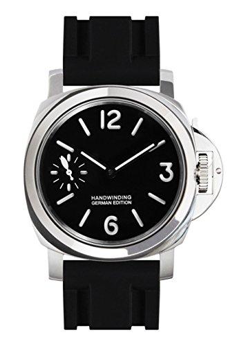 PARNIS 9076 Klassische Handaufzugsuhr 44mm mechanische Herren-Armband-Uhr Superluminova 316L-Edelstahl Saphirglas Kautschuk-Armband Seagull ST36 Markenuhrwerk