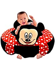 Besties Baby Soft Plush Cushion Cotton Baby Sofa Seat Infant Safety Car Chair Learn to Sit Stool Training Kids Support Sitting for Dining (Red/Black)
