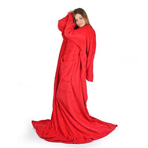 Vendôme Royale, super weiche Kuscheldecke XXL mit Ärmeln und extra Fußumschlag & Taschen, Ärmeldecke 200 cm x 170 cm, Wohnmantel Farbe: Rot (Plaid Rot Lounge)